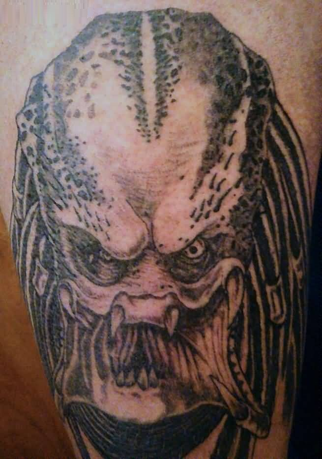 nice gray color ink Predator Head Tattoo for boys
