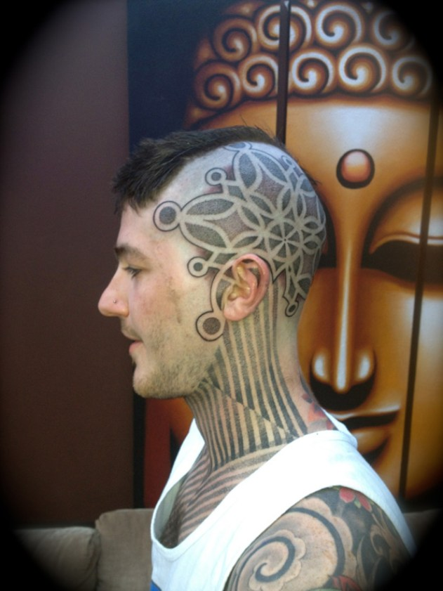 Nice Pattern Tattoo On Head With Black Ink For Man Woman