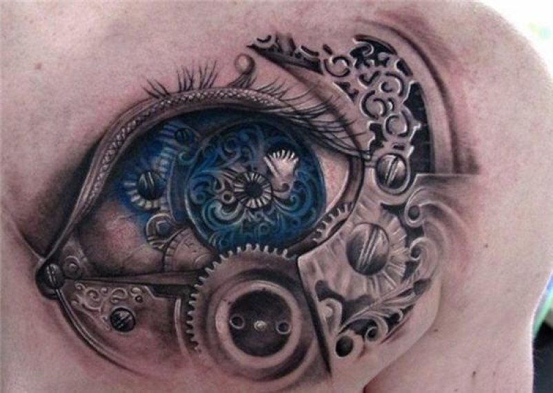 Nice Steampunk Eye Tattoo On Chest With Blue &Amp; Black Ink For Man And Woman