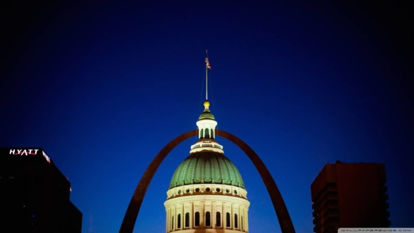 Out Standing Courthouse And Gateway Arch At Night With Two Beautiful Buildings