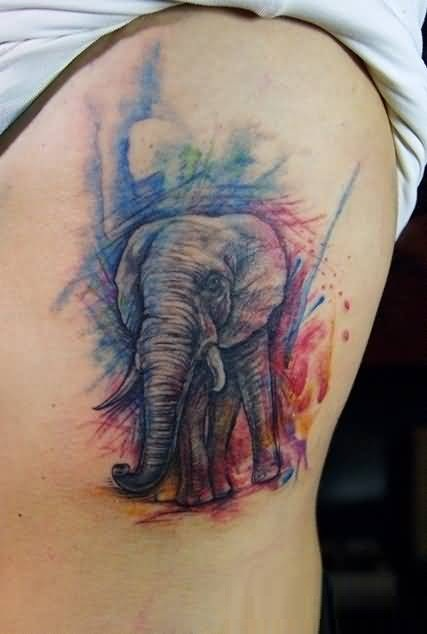 Out Standing Colorful Ink African Elephant Tattoo For Man