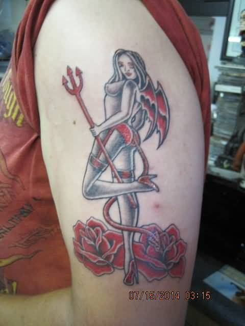 out standing red and gray color ink Angel Tattoos on boy shoulder made by expert artist with beautiful red rose