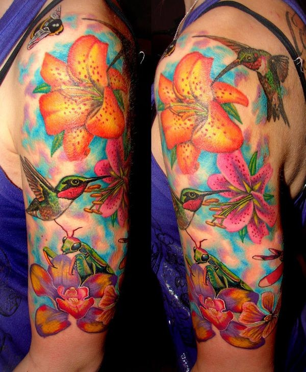Outstanding Humming Birds And Lily Colorful Tattoo With Colorful Ink For Man Woman