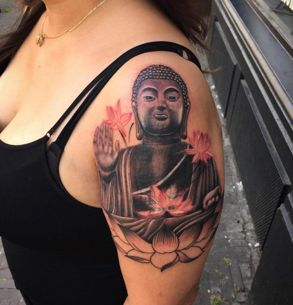 Outstanding Buddha Half Sleeve Tattoo With Black Ink For Woman Man