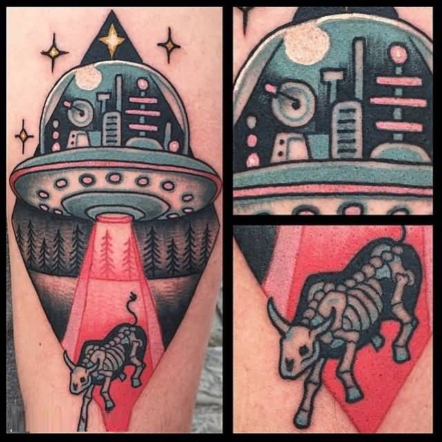 perfect red and blue light color ink Ufo And Cow Tattoo for girls