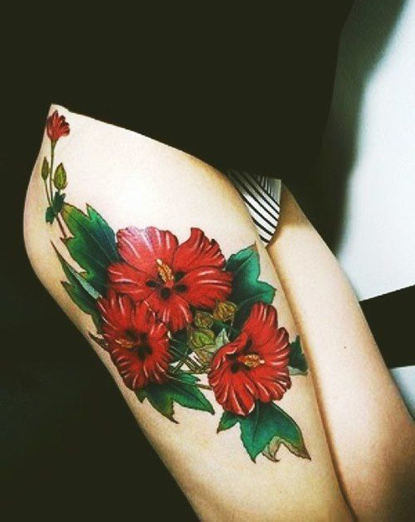 phenomenal Hibiscus tattoo on thigh With colourful ink For Man And Woman