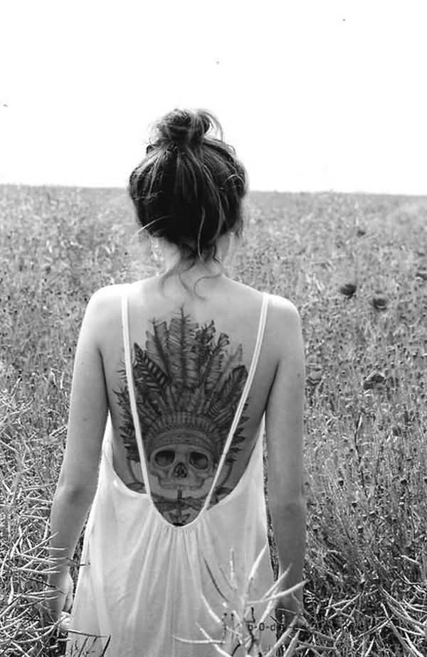 Phenomenal Native American Tattoo On Back With Black Ink For Man & Woman