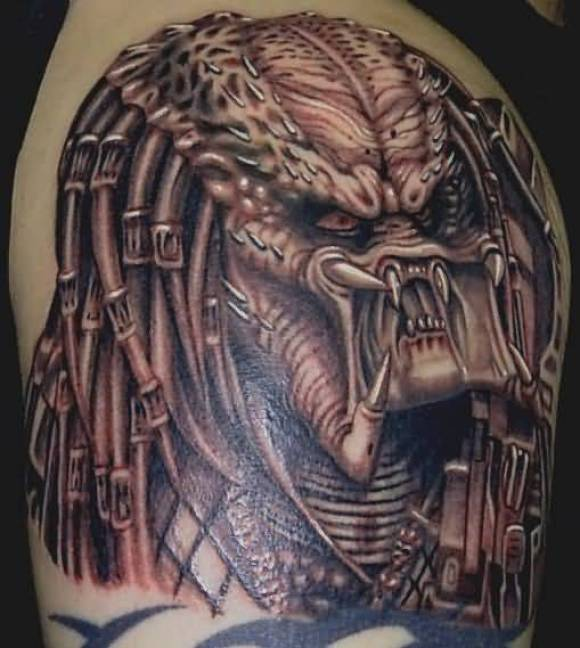 phenomenon red light and gray color ink Predator Head Tattoo Made for boys