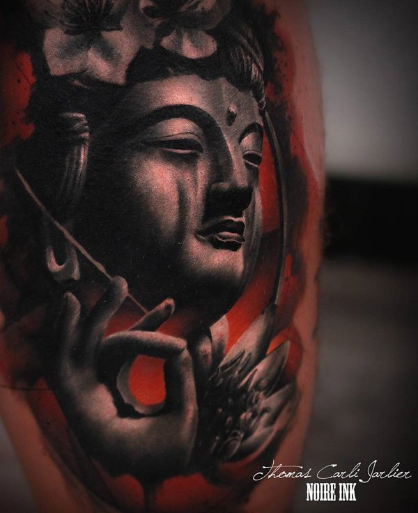 Phenomenal Buddha Portrait Tattoo With Black Ink For Woman Man