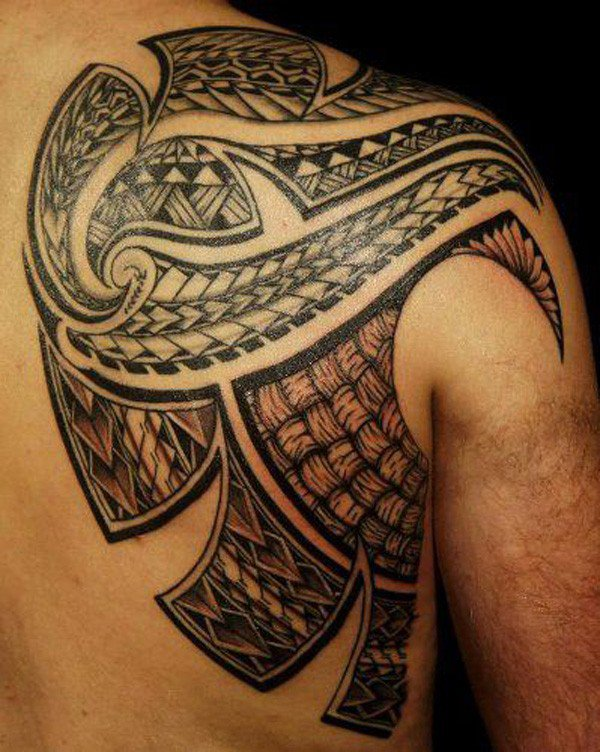 Phenomenal Samoa Tribal Neck On Back With Black Ink For Man Woman Samoan tattoo