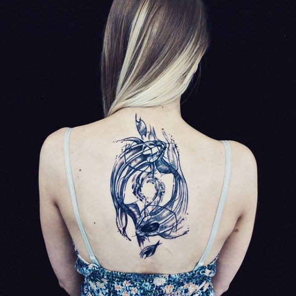 Phenomenal Fish Yin yang Tattoo With Black Ink For Man Woman