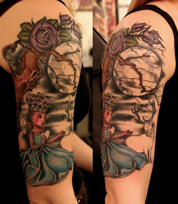 Phenomenal Moon Tattoo On Arm With Black Ink For Man Woman