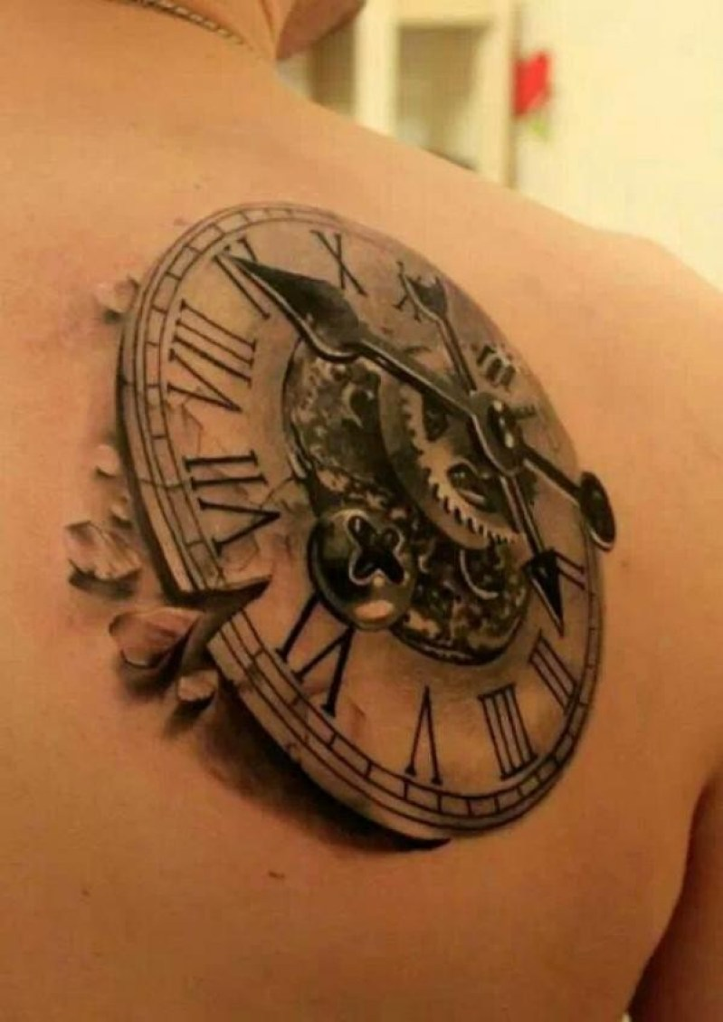 Phenomenal Steampunk Clock On Back With Black Ink For Man And Woman