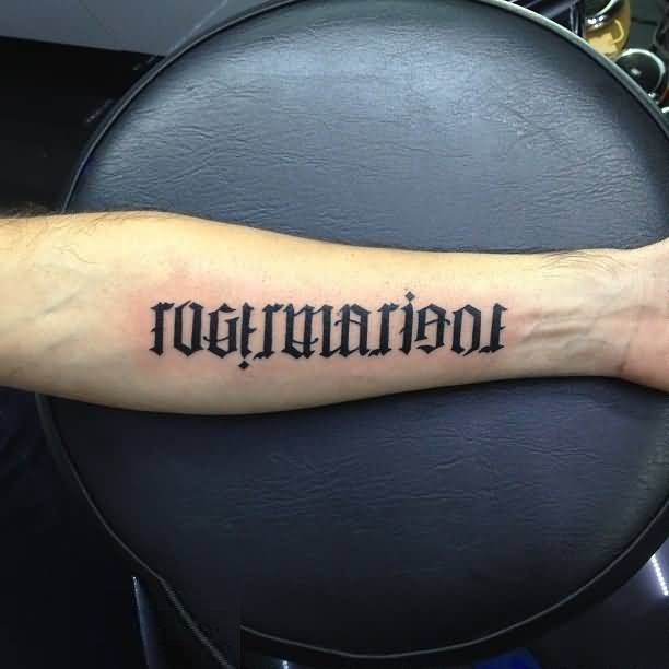 popular black color ink sleeve ambigram tattoo for boys