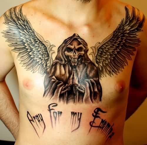 popular gray and black color ink Angel Tattoos on boy chest made by expert artist for boys