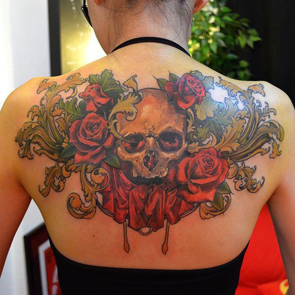 Realistic Color Tattoo On Back With Colorful Ink For Man Woman