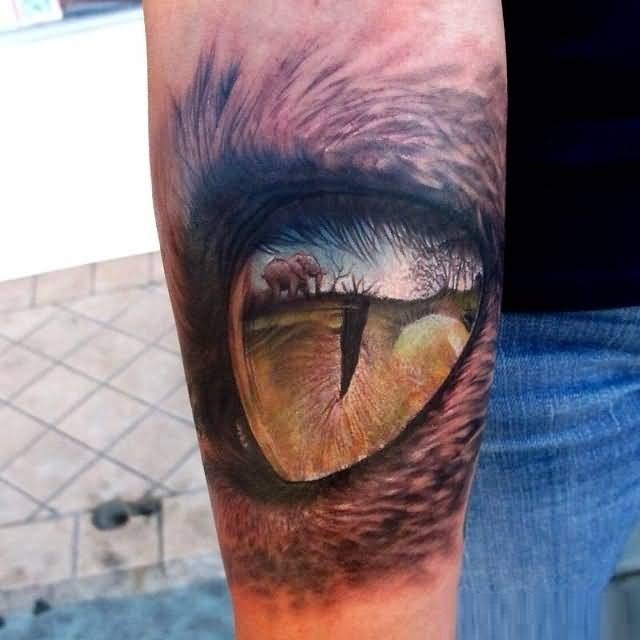 Realistic Yellow And Black Color Ink Scary African Lion Eye Tattoo On Boy Arm