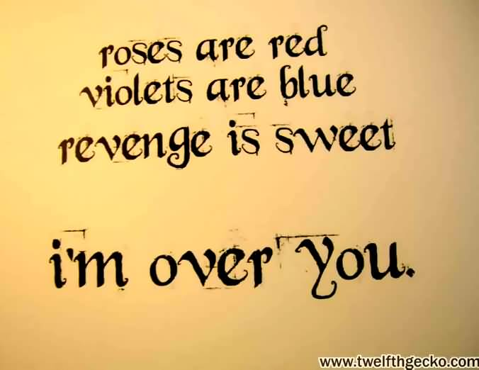 Roses Are Red Violets Are Blue Revenge Is Sweet Im Over You