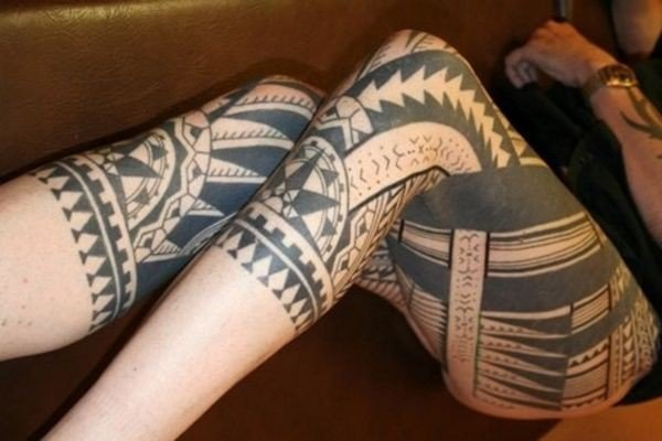 Sensational Samoan Leg Tattoo For Women With Black Ink For Man Woman