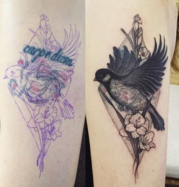Simple Cover Before After Bird Tattoo On Hand With Black Ink For Man And Woman