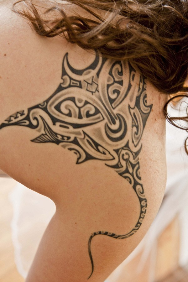 Simple Manta Ray Tattoo On Shoulder With Black Ink For Man And Woman