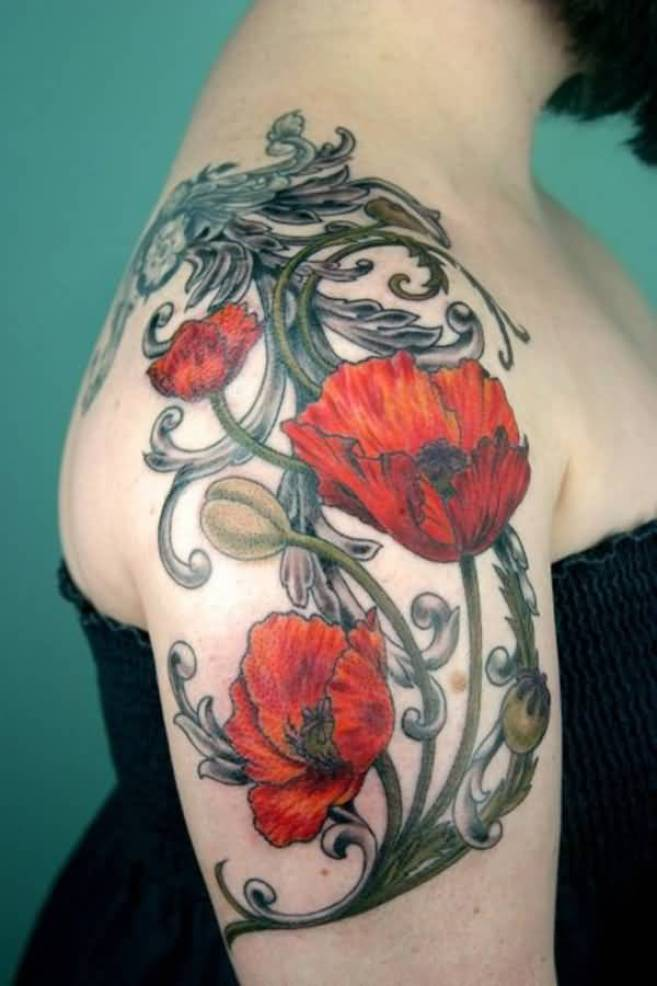 simple Poppies tattoo on shoulder With colourful ink For Man And Woman