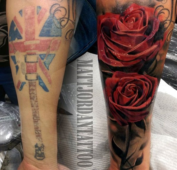 Simple Rose Cover Up Tattoo By Matt Jordan With Colourful Ink For Man And Woman