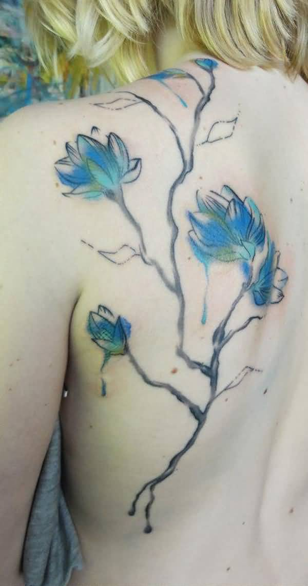 simple Watercolor magnolia back tattoo on back With colourful ink For Man And Woman