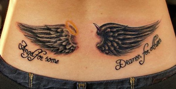 Simple Wing Tattoo On Back With Black Ink For Man Woman Wing Tattoo