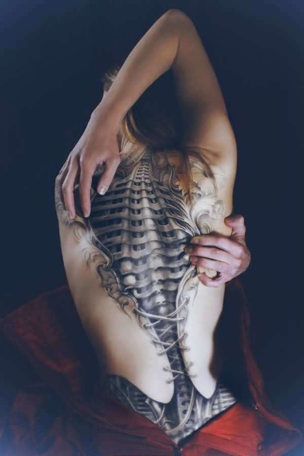Simple Back Tattoos For Women On Back On Back With Black Ink For Women