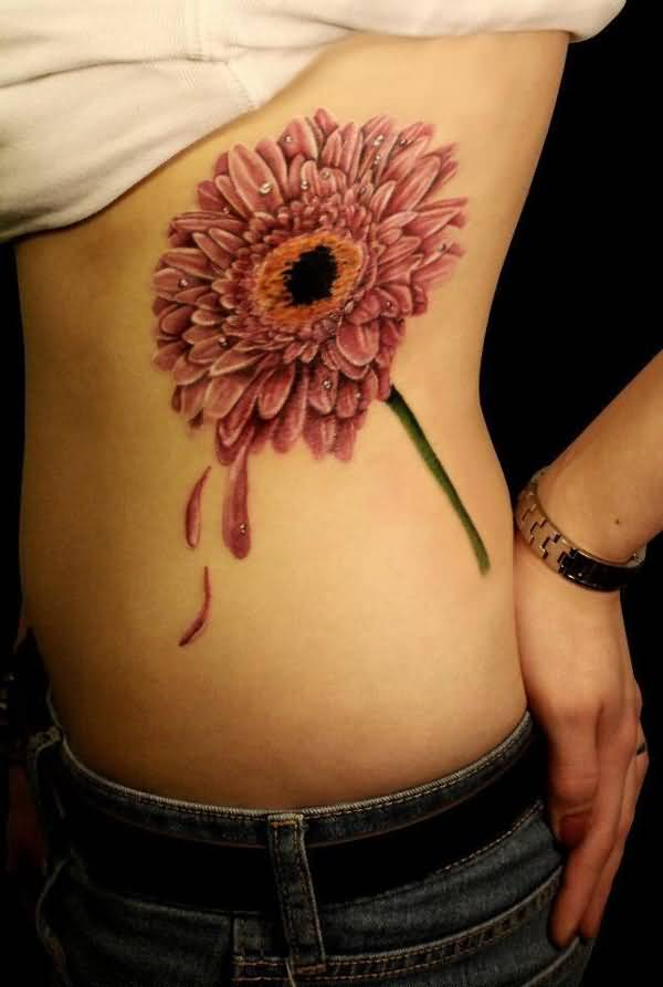 simple chrysanthemum side tattoo on side with colourful ink for man & woman