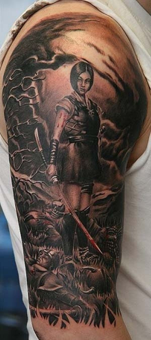 Simple Warrior Tattoo On Arm With Black Ink For Women And Man