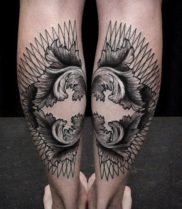 Stunning Calf Tattoo With Black Ink For Man Woman