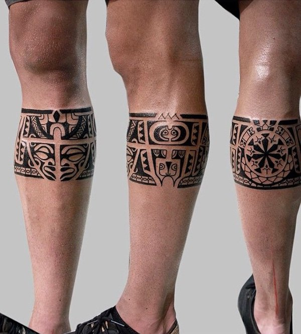 Stunning Tribe Calf Tattoo With Black Ink For Man Woman