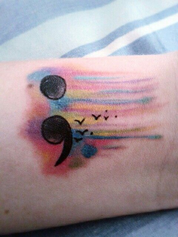Stunning Semicolon Tattoo With Black Ink For Man Woman