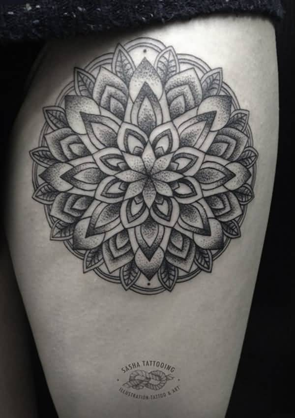Superb Mandala Tattoo With Black Ink On Calf For Man Woman