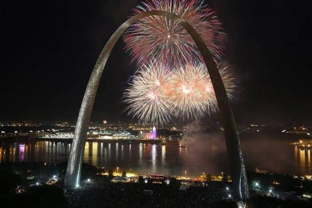 Superb The Gateway Arch And Fireworks Light At Night