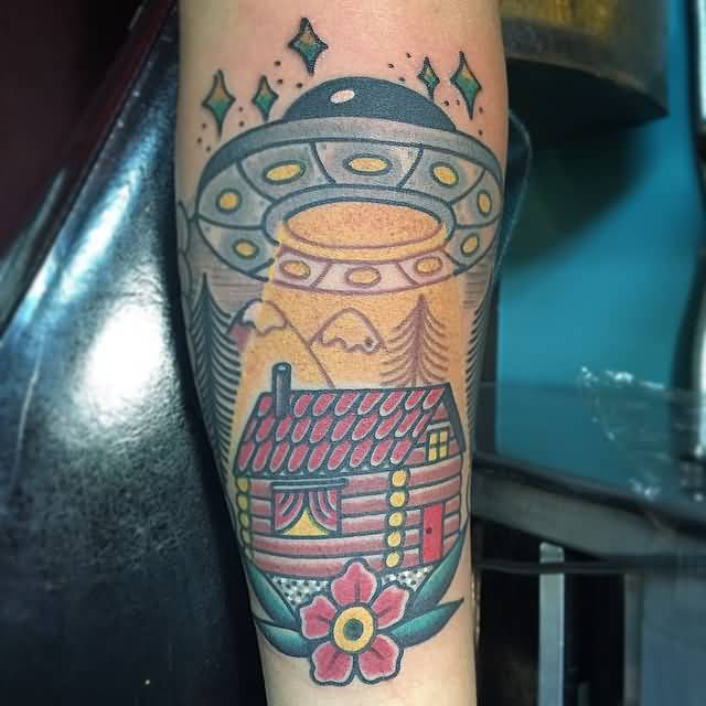 superb colorful ink Ufo Tattoo On Calf for girls