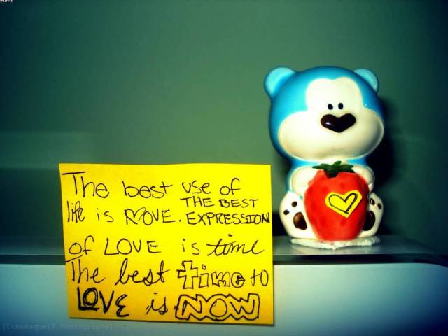 The Best Use Of Life Is Love The Best Expression Of Love Is Time The Best Time To Love Is Now