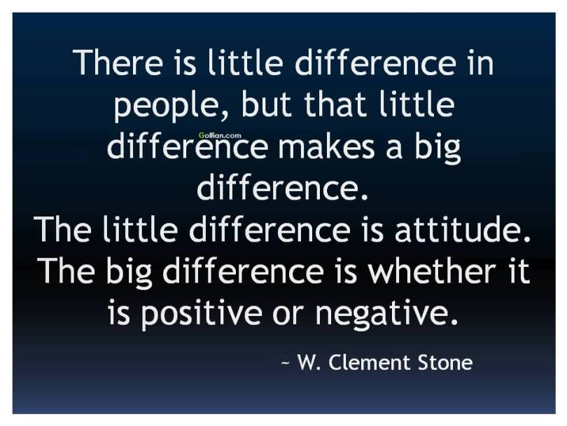There Is Little Difference In People But That Little Diference Makes A Big Difference The Little Diference Is Atitude The Big Differenve Is Whether It Is Positive Or Negative W Cleme