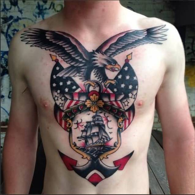 traditional black color and red color ink anchor tattoo on boy chest made by expert