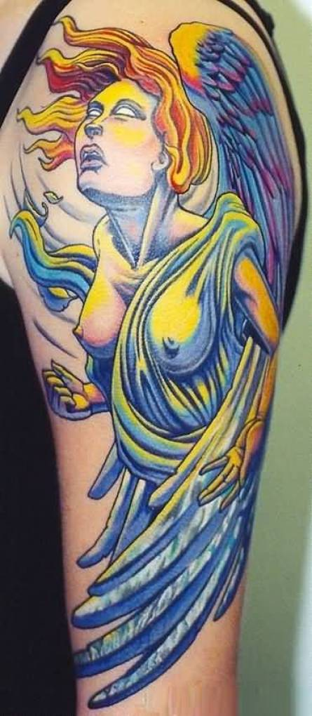 traditional blue and yellow color ink angel tattoo on boy sleeve for boys made by expert artist