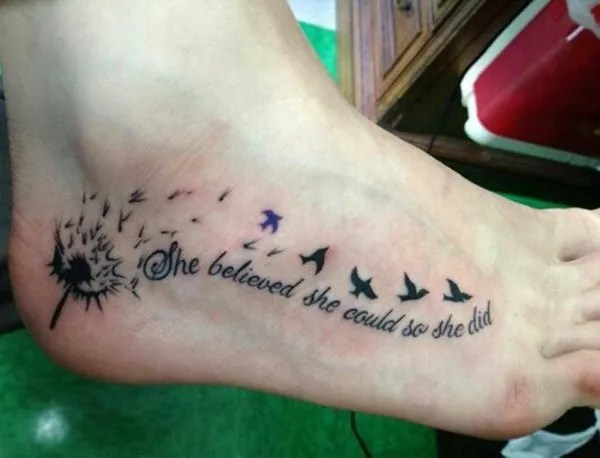 tremendous Dandelion Tattoos on foot With Black ink For Man And Woman