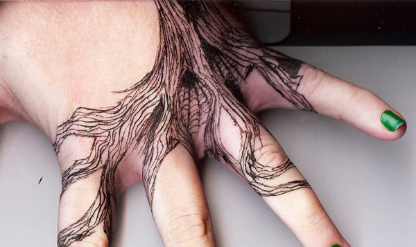 Trendy Tattoo Inspired Hand Tree With Black Ink For Man And Woman