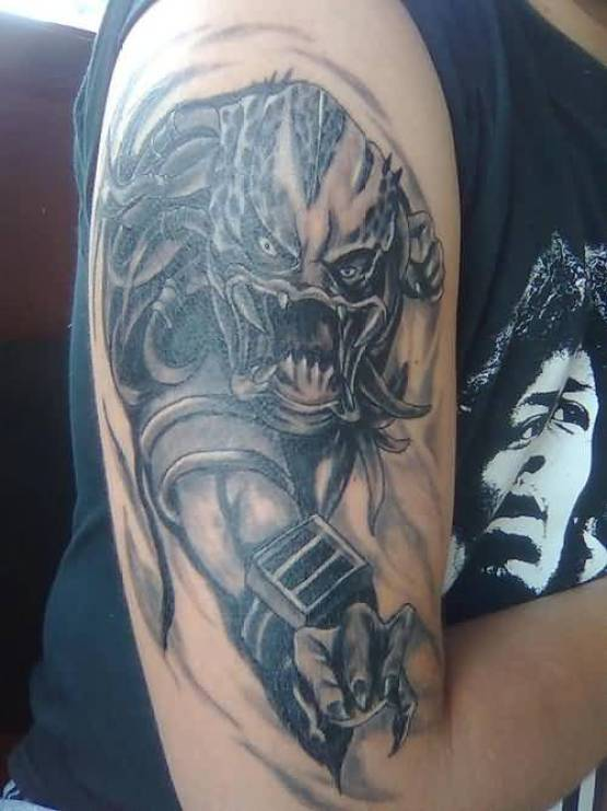trendy gray color ink Predator Tattoo On Sleeve for boys