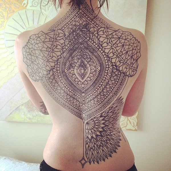 Ultimate Geometric Tattoos on back with black ink for man & woman