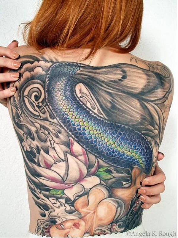 Ultimate Mermaid Back Tattoo On Back With Colorful Ink For Woman