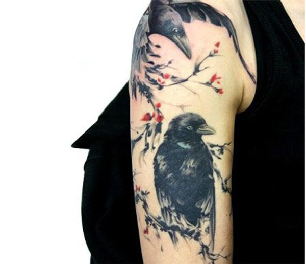 unique Chinese ink painting style raven and plum flower tattoo on shoulder with Black ink For Man And Woman