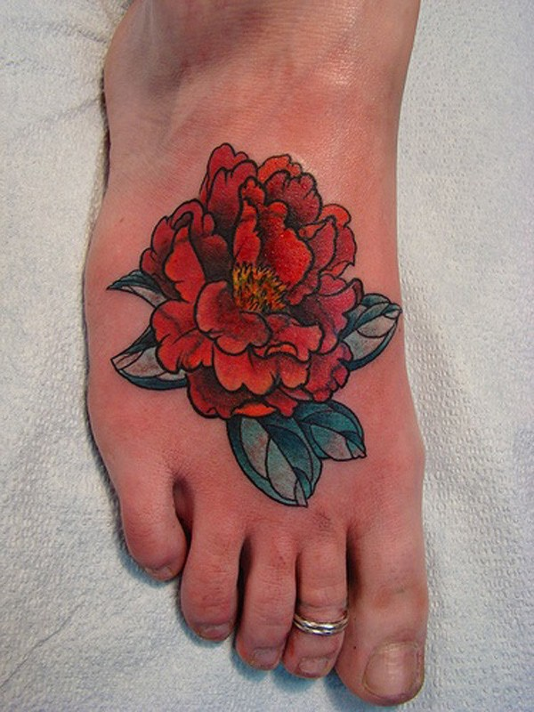 unique Peony tattoo on foot on foot With Black ink For Man And Woman