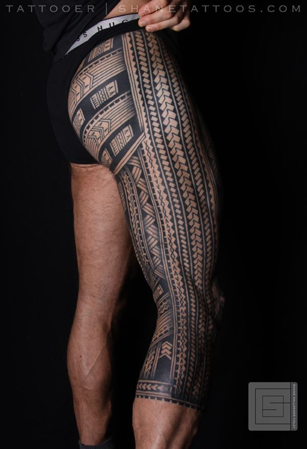 Unique Polynesian Samoan Inspired Leg Tattoo With Black Ink For Man Woman
